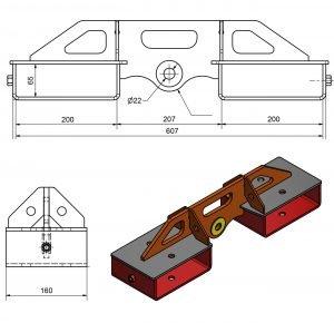 Dimensioni gancio per carrello elevatore lungo